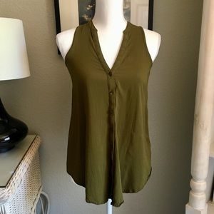 Anthro Maeve Olive Green Button Down Tank